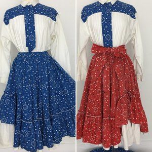 Vintage Square Dance Costume Skirt Rockabilly L